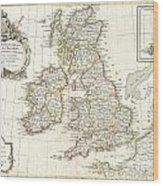 1771 Zannoni Map Of The British Isles  Wood Print