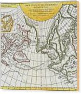 1772 Vaugondy And Diderot Map Of The Pacific Northwest And The Northwest Passage Wood Print by Paul Fearn