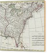1776 Bonne Map Of Louisiana And The British Colonies In North America Wood Print
