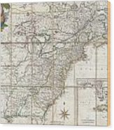 1779 Phelippeaux Case Map Of The United States During The Revolutionary War Wood Print