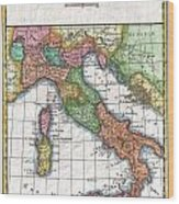 1780 Raynal And Bonne Map Of Italy Wood Print