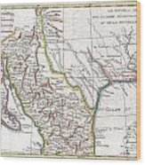 1780 Raynal And Bonne Map Of Mexico And Texas  Wood Print