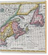 1780 Raynal And Bonne Map Of New England And The Maritime Provinces Wood Print