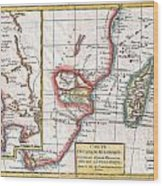 1780 Raynal And Bonne Map Of South Africa Zimbabwe Madagascar And Mozambique Wood Print