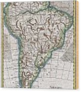1780 Raynal And Bonne Map Of South America Wood Print