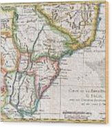 1780 Raynal And Bonne Map Of Southern Brazil Northern Argentina Uruguay And Paraguay Wood Print