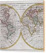 1780 Raynal And Bonne Map Of The Two Hemispheres Wood Print