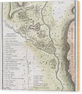 1783 Bocage Map Of The Topography Of Sparta Ancient Greece And Environs Wood Print