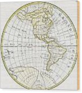 1785 Clouet Map Of North America And South America Wood Print