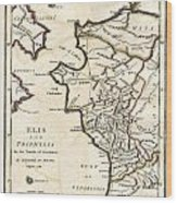 1786 Bocage Map Of Elis And Triphylia In Ancient Greece  Wood Print