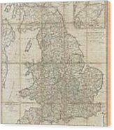 1790 Faden Map Of The Roads Of Great Britain Or England Wood Print