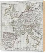1794 Anville Map Of Europe In Late Roman Times Wood Print