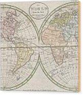 1798 Payne Map Of The World  Wood Print