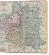1799 Cary Map Of Poland Prussia And Lithuania  Wood Print