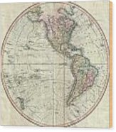 1799 Cary Map Of The Western Hemisphere  Wood Print