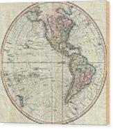 1799 Cary Map Of The Western Hemisphere  Wood Print