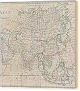 1799 Clement Cruttwell Map Of Asia Wood Print