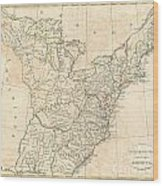 1799 Cruttwell Map Of The United States Of America Wood Print