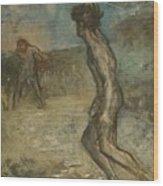Greek Shepherd And Maiden Wood Print