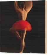 Ballet Dancer In Red Tutu Wood Print