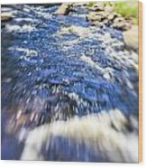 The Stream In Mountain Wood Print