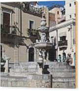 Another View Of An Old Unused Fountain In Taormina Sicily Wood Print