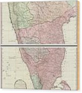 1800 Faden Rennell Wall Map Of India Wood Print