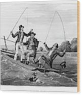 1800s Three 19th Century Men In Boat Wood Print
