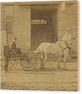 1800's Vintage Photo Of Horse Drawn Carriage Wood Print