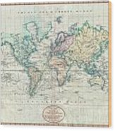 1801 Cary Map Of The World On Mercator Projection Wood Print