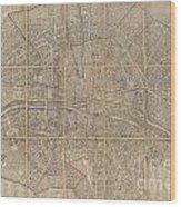 1802 Chez Jean Map Of Paris In 12 Municipalities France Wood Print