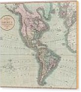 1806 Cary Map Of The Western Hemisphere  North America And South America Wood Print