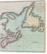 1807 Cary Map Of Nova Scotia And Newfoundland Wood Print