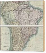 1807 Cary Map Of South America Wood Print