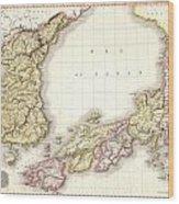 1809 Pinkerton Map Of Korea And Japan Wood Print