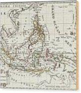 1810 Tardieu Map Of The East Indies Singapore Southeast Asia Sumatra Borneo Java Wood Print