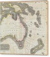 1814 Thomson Map Of Australia New Zealand And New Guinea Wood Print