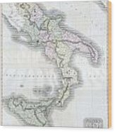 1814 Thomson Map Of Southern Italy Wood Print