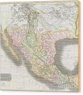 1814 Thomson Map Of Texas Mexico  Louisiana Wood Print