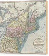 1821 Cary Map Of New England New York Pennsylvania And Virginia Wood Print