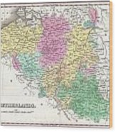 1827 Finley Map Of Belgium And Luxembourg Wood Print