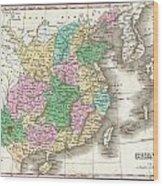 1827 Finley Map Of China  Wood Print