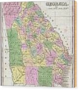 1827 Finley Map Of Georgia Wood Print