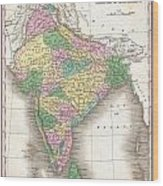1827 Finley Map Of India  Wood Print