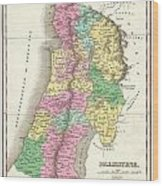 1827 Finley Map Of Israel  Palestine Holy Land Wood Print