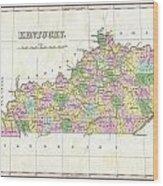 1827 Finley Map Of Kentucky Wood Print