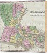 1827 Finley Map Of Louisiana Wood Print