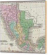 1827 Finley Map Of Mexico Upper California And Texas Wood Print