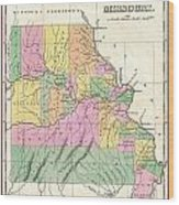 1827 Finley Map Of Missouri Wood Print