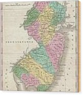 1827 Finley Map Of New Jersey  Wood Print